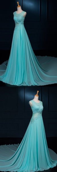 Charming Prom Dress, A Line Blue Appliques Chiffon Prom Dresses , Long Evening Dress