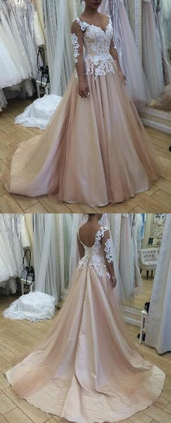 Charming Appliques Evening Dress, Long Sleeve Evening Dress, Formal Prom Dress