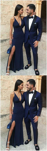 Charming Prom Dress, Navy Blue Mermaid Prom Dresses, Long Evening Dress