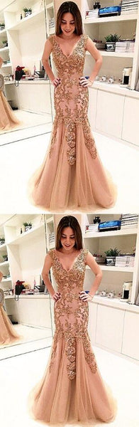 Sexy V Neck Prom Dress, Appliques Tulle Mermaid Prom Dresses, Formal Long Evening Dress