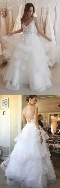 Charming Wedding Dress, Open Back Appliques Tulle Wedding Dress, Sexy Bridal Dresses