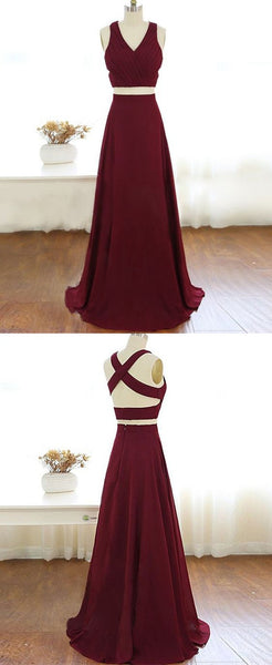 Gorgeous 2 pieces Prom Dresses Long Sexy Evening Gowns Chiffon Two Piece Formal Dress