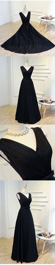 Simple black long prom dress, black evening dress