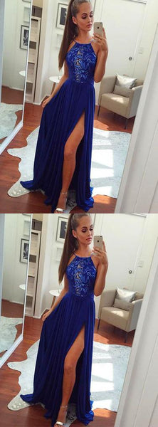Royal blue Slit Prom Dress, Sexy Prom Dresses, Long Formal Evening Dress