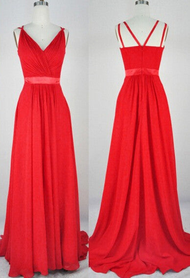 Red Prom Dress,chiffon prom dress,simple prom dress,Long prom dress,bridesmaid dress,BD796 - dream dress