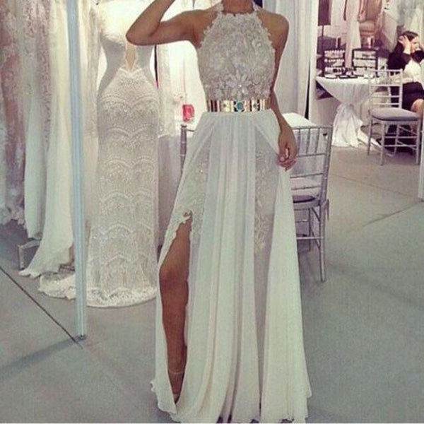 12bc9558c77d Long Prom Dresses,Charming Prom Dress,white Prom dress,lace prom Dress,