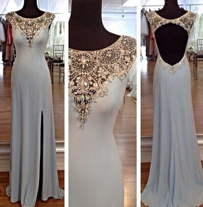 Blue prom Dress,Charming Prom Dresses,Backless Evening Dress,Side slit prom dress,Evening dress,BD034 - dream dress
