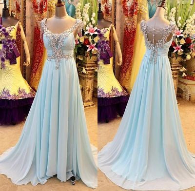 Blue prom Dress,Charming Prom Dresses,2017 prom Dress,Chiffon prom dress,Evening dress,BD035 - dream dress