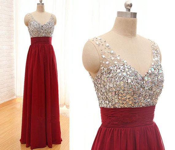 Red Prom Dresses,Long Prom Dresses,Charming Prom Dress,V neck Prom Dress,Party Dress,Bridesmaid dress,BD143 - dream dress
