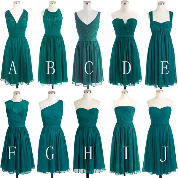 Mismatched Bridesmaid Dress,Short Bridesmaid Dress,Chiffon Bridesmaid Dress,Teal Bridesmaid Dress, BD127 - dream dress