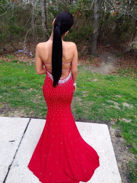 Red Prom Dress, Mermaid Prom Dress, Sexy Prom Dress, Backless Prom Dress, Evening Dress,BD108 - dream dress