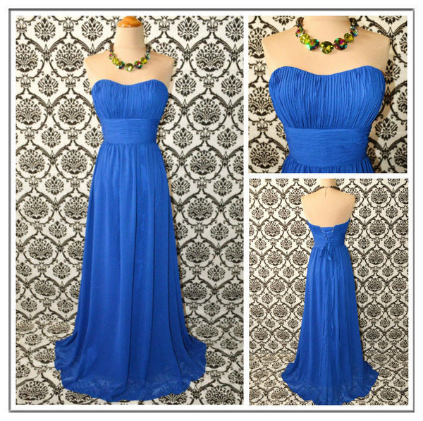 Royal blue Bridesmaid Dress,Long Bridesmaid Dress,Chiffon Bridesmaid Dress,Sweetheart Bridesmaid Dress, BD129 - dream dress