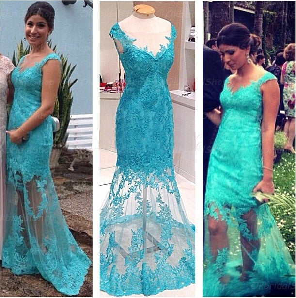 lace prom dress,blue Prom Dress,long prom dress,see through prom dress,evening dress,BD781 - dream dress