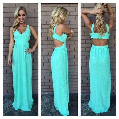 blue prom Dress,chiffon Prom Dress,backless prom dress,long prom dress,evening dress,BD907 - dream dress