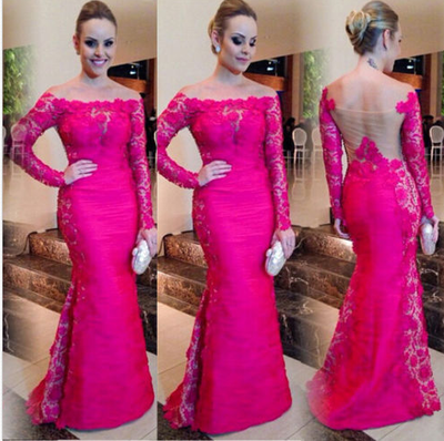 lace prom Dress,hot pink Prom Dress,long prom dress,long sleeves prom dress,evening dress,BD909 - dream dress