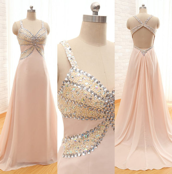 pink prom dress,long Prom Dress,chiffon prom dress,backless prom dress,evening dress,BD787 - dream dress