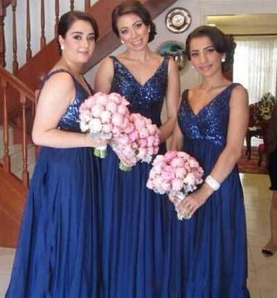navy bridesmaid dress,long bridesmaid dress,sequin top bridesmaid dress,charming bridesmaid dresses,BD826 - dream dress