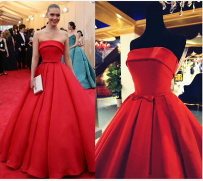 red prom Dress,strapless Prom Dress,A-line prom dress,satin prom dress,long prom dress,BD906 - dream dress