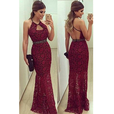 burgundy Prom Dress,long Prom Dress,lace Prom dress,backless prom Dress,evening Dress,BD605 - dream dress