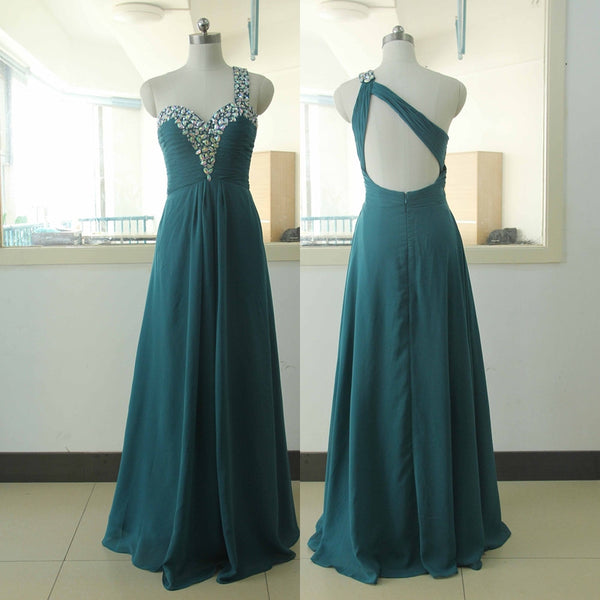 teal prom dress,one shoulder Prom Dress,long prom dress,2016 prom dress,party dress,BD792 - dream dress