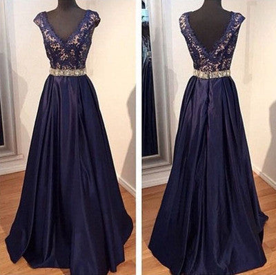 navy Prom Dresses,A-line Prom Dress,v-neck Prom Dress,charming Prom Dress,long prom dress,BD1004 - dream dress
