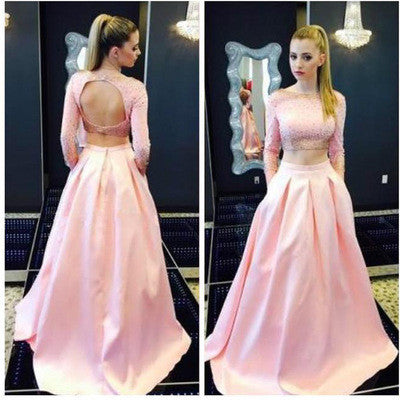 pink prom Dress,two pieces Prom Dress,charming prom dress,party dress,Long prom dress,BD1028 - dream dress