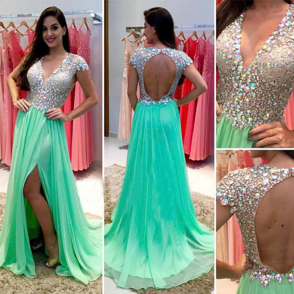 Green prom Dress,Side slit Prom Dress,V neck prom dress,Charming prom dress,Long prom dress,BD172 - dream dress