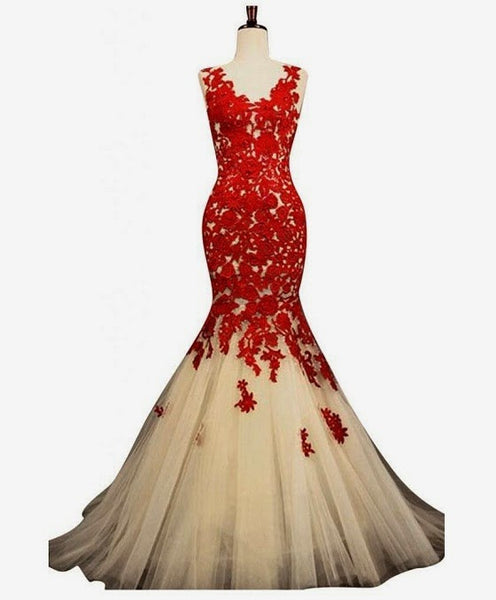 Red Lace Appliqued prom dress,Mermaid Prom Dress,Long evening dress,Formal evening Dress,BD917 - dream dress