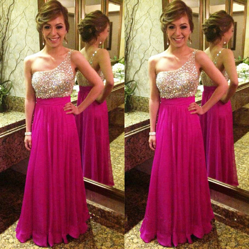 hot pink prom dress,one shoulder prom Dress,cheap Prom Dress,beaded prom dress,long prom dress,BD3905 - dream dress