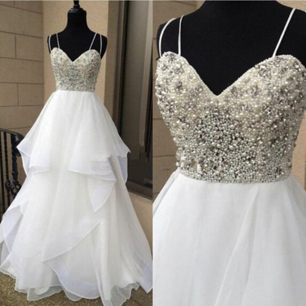 white prom Dress,charming Prom Dress,long prom dress,A-line prom dress,ball gown,BD1234 - dream dress
