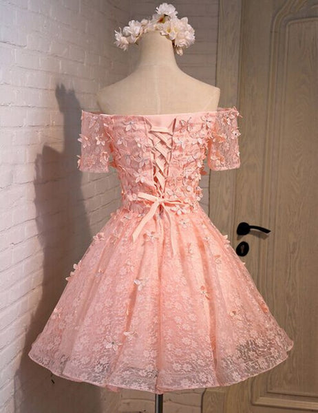 Pink prom Dress,Lovely Prom Dresses,Party dress for girls,Off shoulder prom dress,homecoming dress,BD366 - dream dress