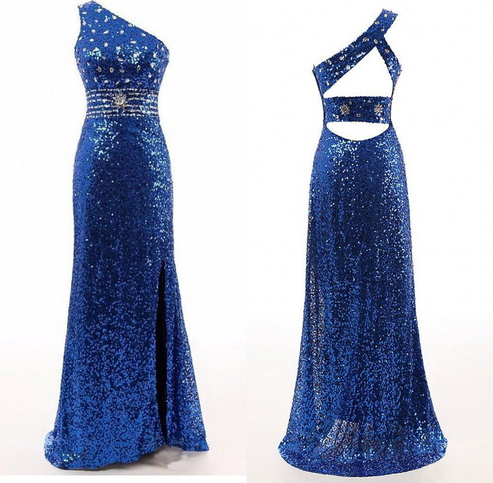 royal blue prom Dress,one shoulder Prom Dress,long prom dress,sparkle prom dress,2016 prom dress,BD1260 - dream dress