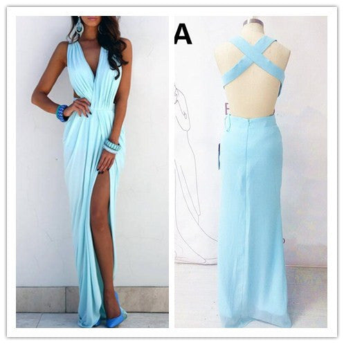 blue prom Dress,sexy Prom Dress,backless prom dress,long prom dress,2017 evening dress,BD1412 - dream dress