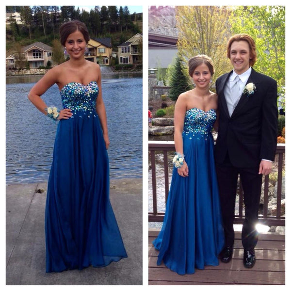 blue prom Dress,Long Prom Dresses,beaded prom Dress,sweetheart prom dress,charming evening dress,BD4598 - dream dress