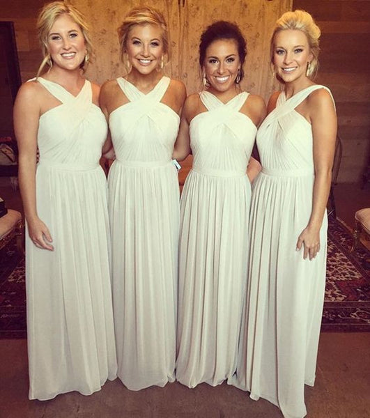 light gray bridesmaid dress,long bridesmaid dress,chiffon bridesmaid dress,cheap bridesmaid dress,BD2630 - dream dress
