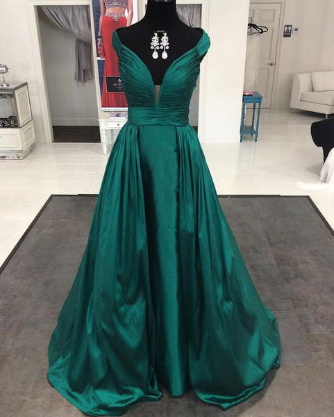 green Prom Dresses,long prom dress,v-neck prom Dress,cheap prom dress,A-line evening gown,BD2426 - dream dress