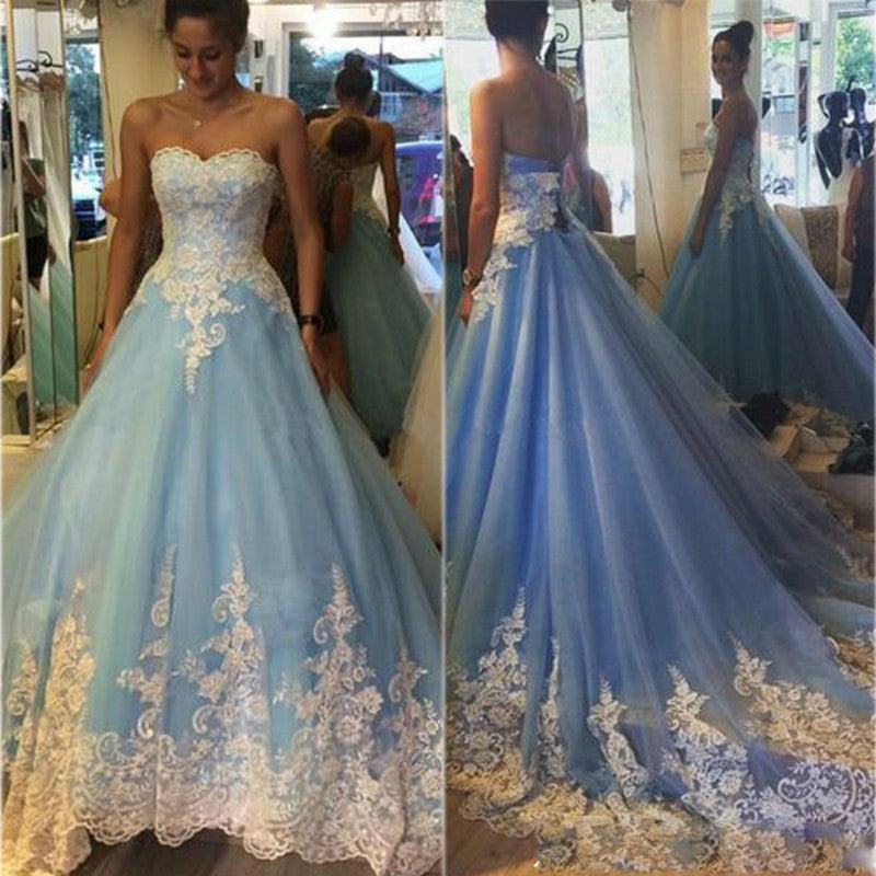 A-line Prom Dresses,sweetheart prom dress,long prom Dress,lace ...