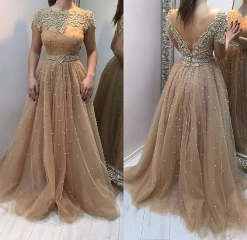 long prom dress,gorgeous prom dress,beaded prom dress,short sleeves prom dress,2017 new evening dress,BD2623 - dream dress