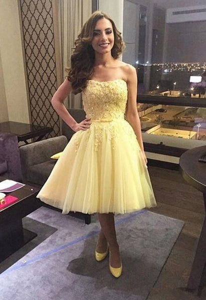 Yellow prom dress,short Homecoming Dresses,tulle Prom Dresses,Short Formal Party Gown,strapless party dress,BD903 - dream dress