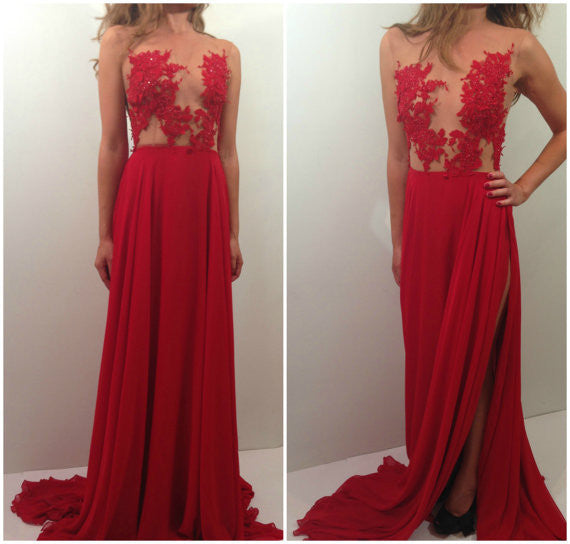 red prom Dresses,lace applique Prom Dresses,long prom dresses,cheap evening dress,side slit evening dress,BD3019 - dream dress