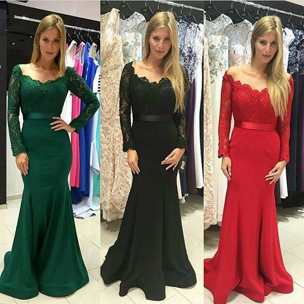 mermaid prom Dress,long sleeves Prom Dress,long prom dress,elegant prom dress,lace prom dress,BD28772 - dream dress