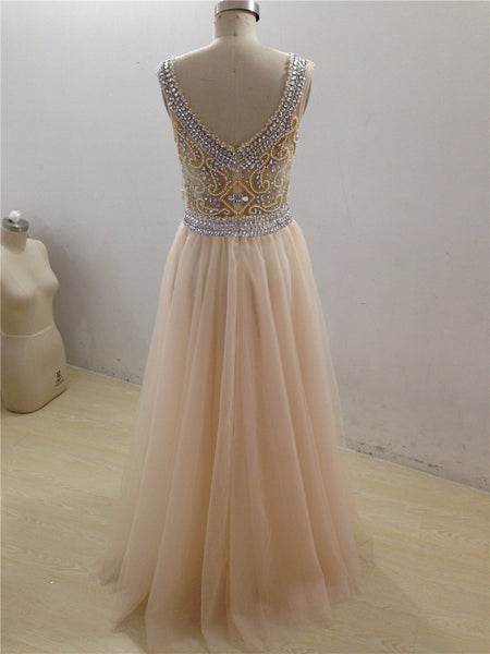 tulle Prom Dresses,beaded prom dress,long prom Dress,2017 prom dress,charming evening gown,BD2897 - dream dress