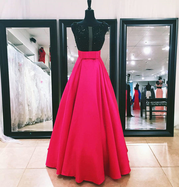 A-line long beaded prom dress, hot pink evening gown,BD460132 - dream dress
