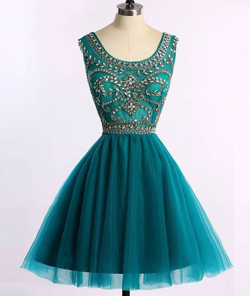 short prom Dress,beaded Prom Dress,teal prom dress,A-line prom dress,junior homecoming dress,BD28775 - dream dress