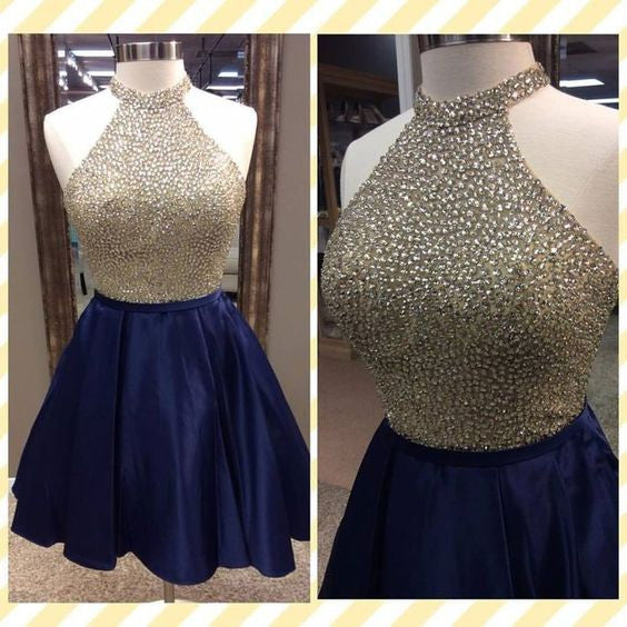 short A-line navy blue Party dress for girls,halter homecoming dress 2017,BD3013