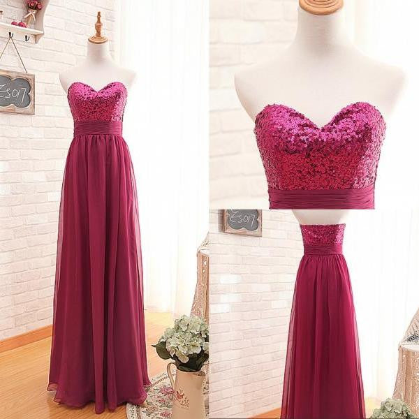hot pink prom Dresses,long Prom Dresses,sweetheart prom dresses,cheap evening dress,bridesmaid dress,BD3023 - dream dress