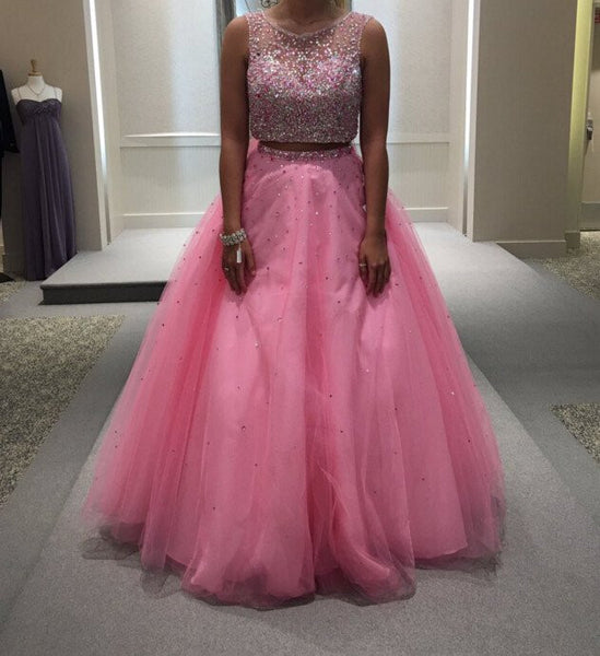 two pieces prom dress,long prom Dress,cheap Prom Dress,beaded prom dress,A-line prom dress,BD3910 - dream dress