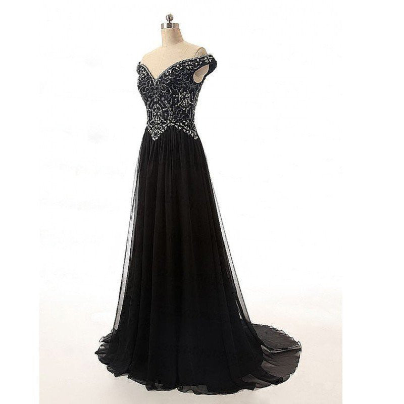 black prom dress,long prom Dress,cheap Prom Dress,off shoulder prom dress,beaded prom dress,BD3920 - dream dress