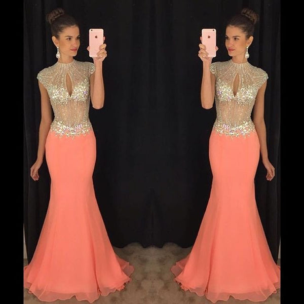 mermaid prom dress,long prom Dress,beaded Prom Dress,charming prom dress,coral prom dress,BD3915 - dream dress