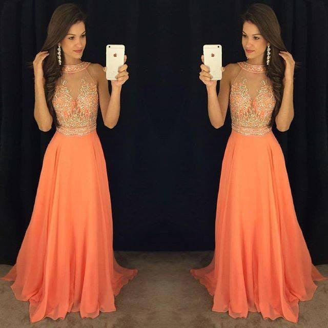 orange prom dress,long prom Dress,cheap Prom Dress,2017 prom dress ...
